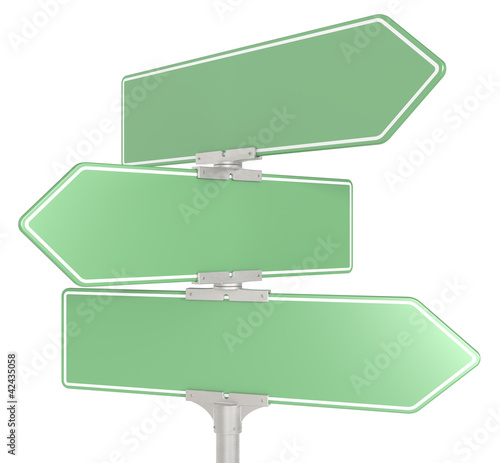 Road signs X 3. Green, Copy Space.