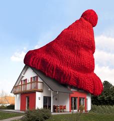 Einfamilienhaus mit Wollmütze