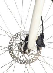 Front wheel brake of mountain bike isolated on white background