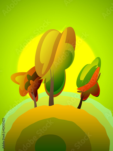 Summer poplar tree, vector