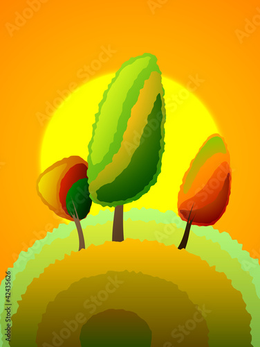autumn poplar tree, vector