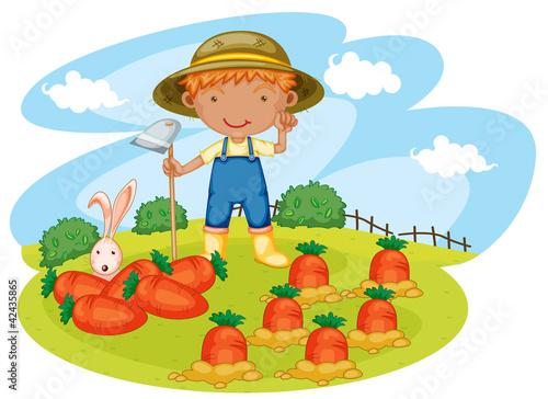 Foto op Canvas Boerderij boy working in farms