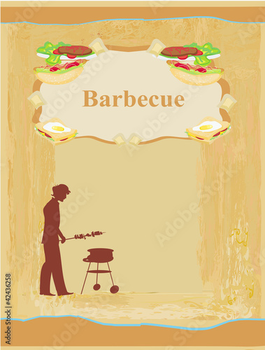man cooking on his barbecue - Invitation