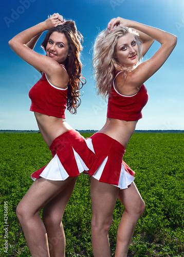 two beauty cheerleader