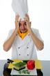 Koch Hände am Kopf