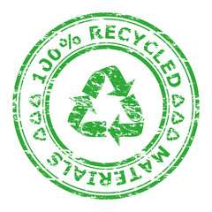 Vector illustration of 100% recycled materials stamp isolated on