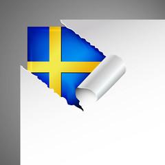 sweden flag teared paper
