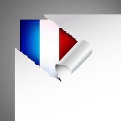 france flag teared paper