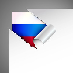 russland flag teared paper