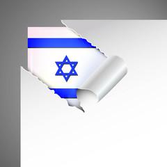 israel flag teared paper, metallic