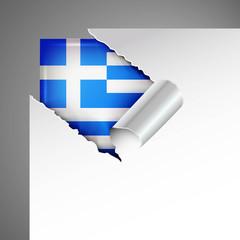 greek flag teared paper, metallic