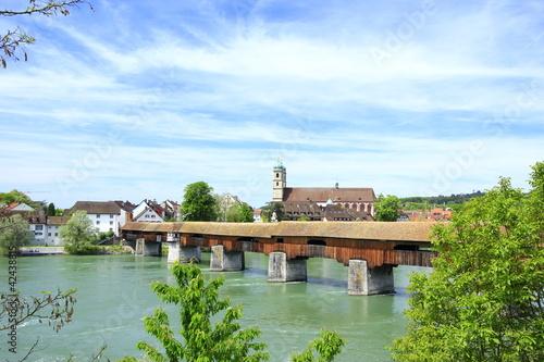Leinwandbild Motiv Holzbrücke Bad Säckingen