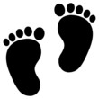 Baby feet clean black icon