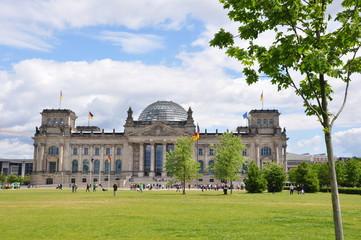 Berlin - Reichstag mit Wiese und Baum