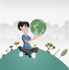 Cartoon boy holding earth globe.