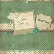 Stylized vintage scrap template with photo frame