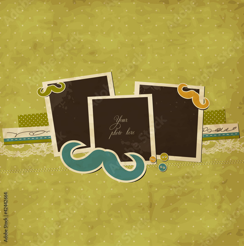 Stylized vintage scrap template with mustache