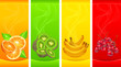 Banners with little fruits