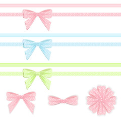 Pastel ribbon and bow collection.