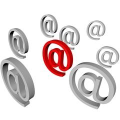 chiocciola mail rossa