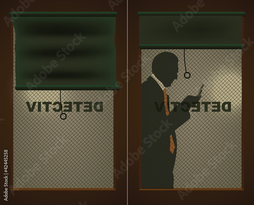 Detectives door and a silhouette of a man with a cell phone - 42445258