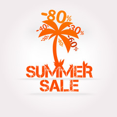 Vector summer sale design template. Fresh discounts.