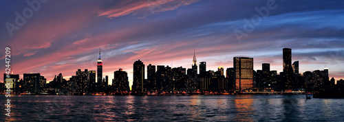Fototapeta New York City Manhattan sunset panorama