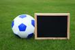 Ball mit Schild auf dem Rasen