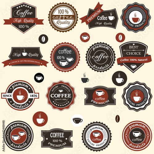Coffee labels and elements in retro style
