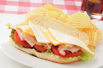 Turkey and cheese submaring sandwich