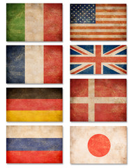 Collection of grunge flags: USA, Great Britain, Italy, France, D