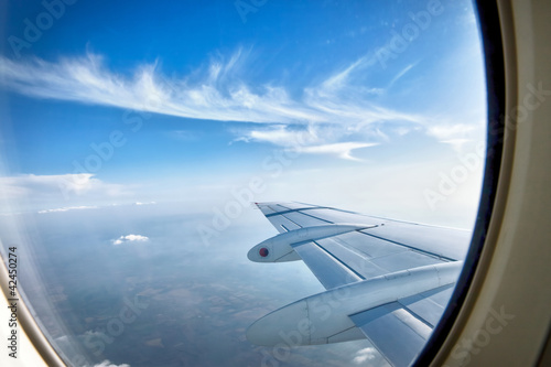 Looking over aircraft wing in flight