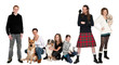 Family group with pets against white background