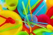 bright plastic disposable tableware close-up
