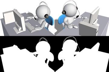 3d human Call center helpdesk