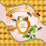 Closed honey jar, wooden dipper, bees, ribbon and flower