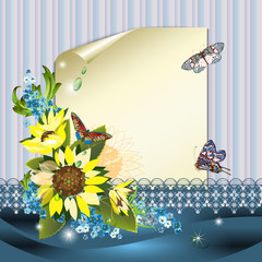 Sheet of paper, sunflowers and butterflies