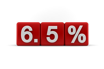6.5 percent in white numbers on red cubes