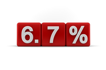 6.7 percent in white numbers on red cubes