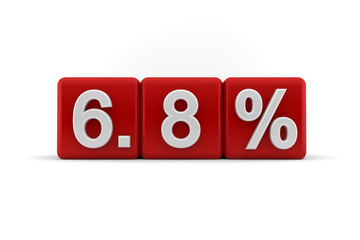 6.8 percent in white numbers on red cubes