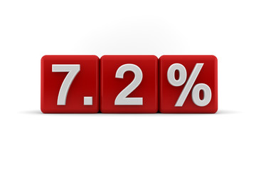 7.2 percent in white numbers on red cubes