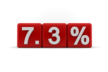 7.3 percent in white numbers on red cubes