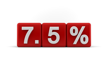 7.5 percent in white numbers on red cubes
