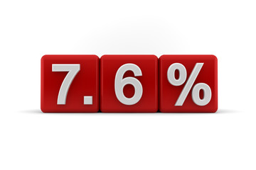7.6 percent in white numbers on red cubes
