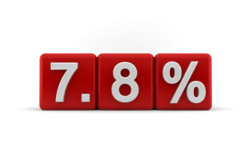 7.8 percent in white numbers on red cubes