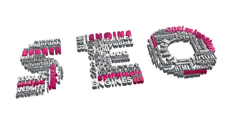 SEO concept. Word tag cloud formed in letters with 3D effect