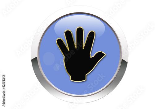 Botón azul mano