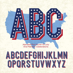 Alphabet For Fourth Of July And Patriotic Celebrations. Vector,