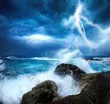 Fototapeta burza z piorunami - błyskawica - Morze / Ocean