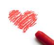 coeur dessiné et sa craie rouge